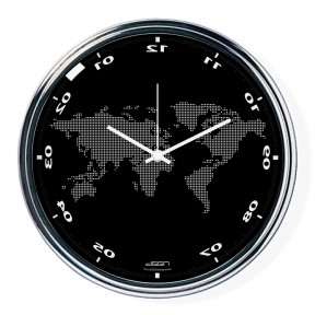 Black vertically inverted clock with a world map