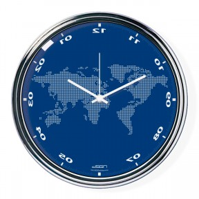 Blue vertically inverted clock with a world map