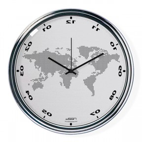 Light gray vertically inverted clock with a world map