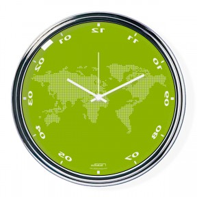 Green vertically inverted clock with a world map