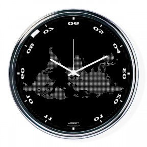Black horizontally inverted clock with a world map
