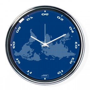 Blue horizontally inverted clock with a world map