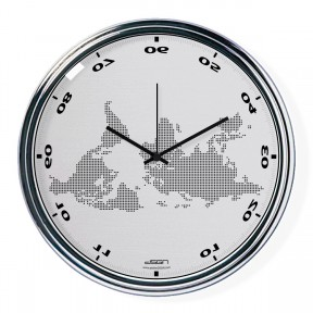 Light gray horizontally inverted clock with a world map