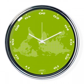 Green horizontally inverted clock with a world map