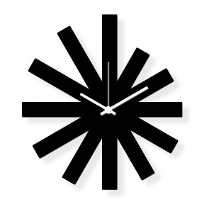 Medium sized wall clock, black plexiglass 16x12 in: Black Star | atelierDSGN