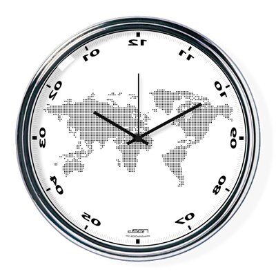 White vertically inverted clock with a world map