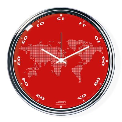 Red vertically inverted clock with a world map