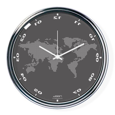 Dark gray vertically inverted clock with a world map
