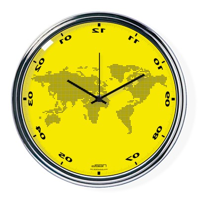Yellow vertically inverted clock with a world map