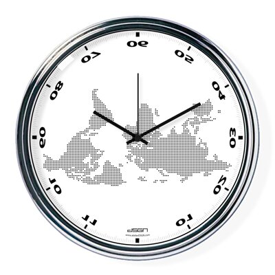 White horizontally inverted clock with a world map