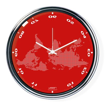 Red horizontally inverted clock with a world map