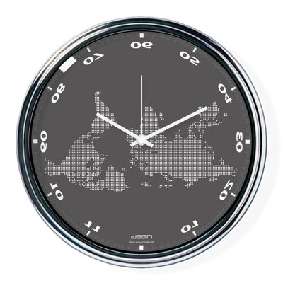 Dark gray horizontally inverted clock with a world map