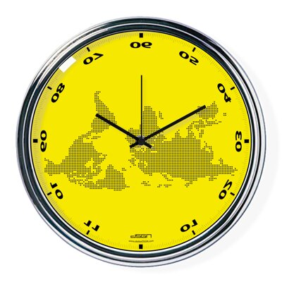 Yellow horizontally inverted clock with a world map