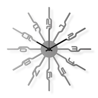 Medium sized wall clock, steel 16x16 in: Numbers | atelierDSGN