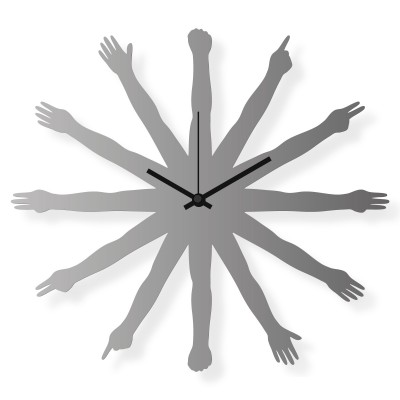 Medium sized wall clock, steel 16x16 in: Hands | atelierDSGN