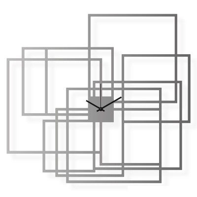 Large stainless steel wall clock, 26x24 in: Rectangles | atelierDSGN